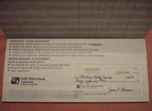 小切手の説明書のページ